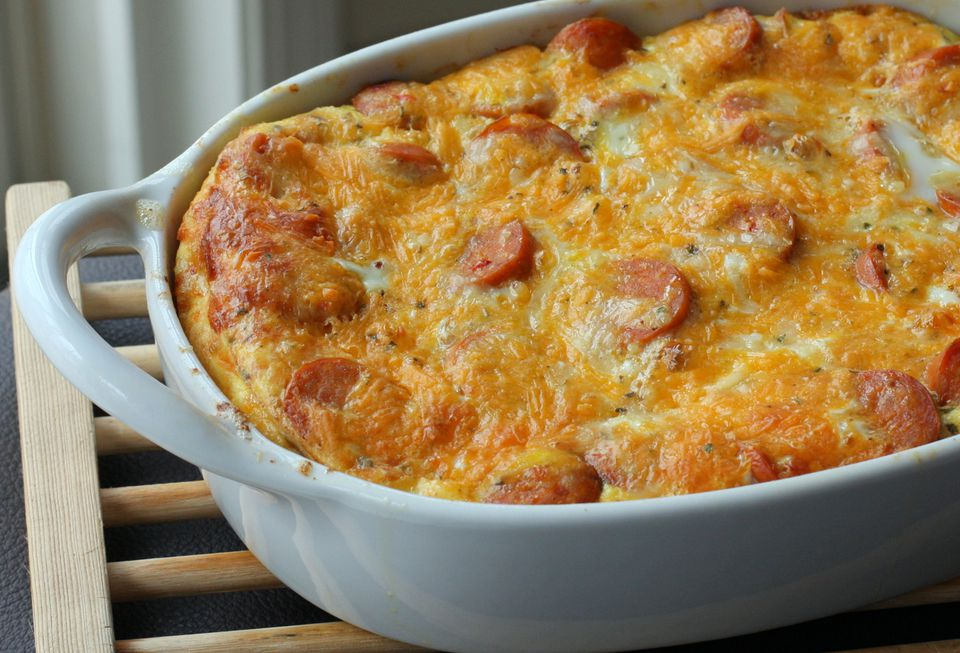 Breakfast Egg and Chicken Sausage Casserole Recipe
