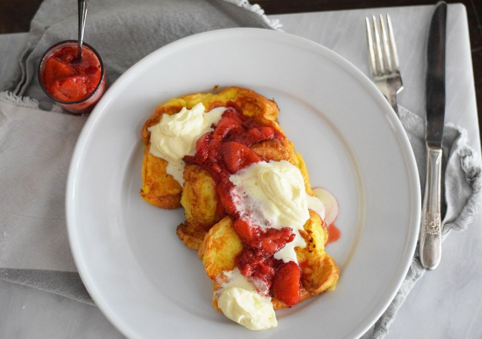Brioche French Toast With Lemon Curd and Strawberry Compote