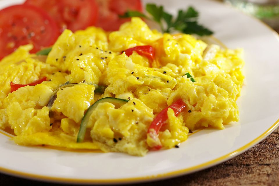 Scrambled Eggs With Green Onions and Tomatoes Recipe